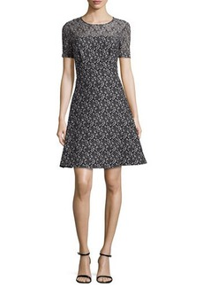 Kay Unger New York Short-Sleeve Floral Lace Dress