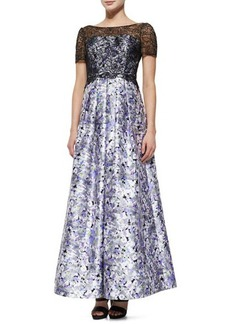 Kay Unger New York Short-Sleeve Lace-Bodice Floral Ball Gown