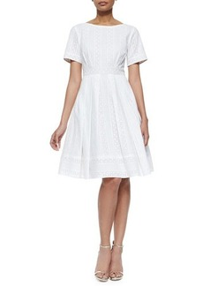 Kay Unger New York Short-Sleeve Lace-Detail Fit & Flare Dress