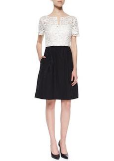 Kay Unger New York Short-Sleeve Lace-Top Jacquard Skirt Dress
