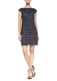Kay Unger New York Short-Sleeve Sequined Mesh Cocktail Dress