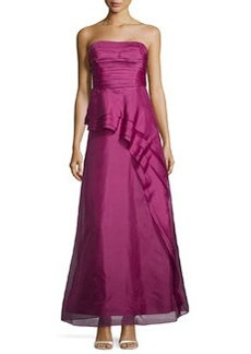 Kay Unger New York Silk Strapless Ruffled Gown, Berry