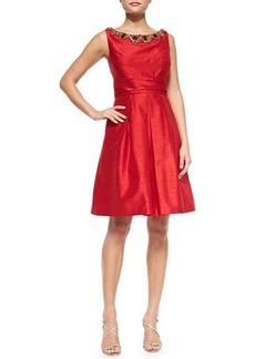 Kay Unger New York Sleeveless Beaded-Neck Cocktail Dress