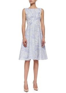 Kay Unger New York Sleeveless Fit & Flare Jacquard Dress, Iris