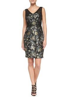 Kay Unger New York Sleeveless Floral Jacquard Cocktail Dress