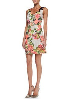Kay Unger New York Sleeveless Floral-Print Cotton Dress