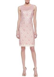 Kay Unger New York Sleeveless Illusion Bodice Cocktail Dress, Pink