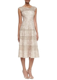 Kay Unger New York Sleeveless Lace Tea-Length Cocktail Dress