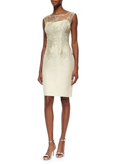 Kay Unger New York Sleeveless Lace Tweed Dress