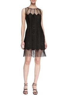 Kay Unger New York Sleeveless Mesh-Top Fringe-Hem Cocktail Dress, Black
