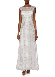 Kay Unger New York Sleeveless Metallic Embroidered Organza Gown