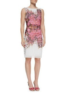 Kay Unger New York Sleeveless Ruched Floral Sheath Dress