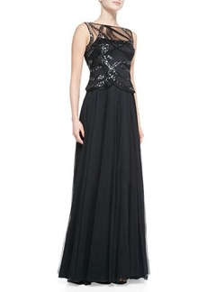 Kay Unger New York Sleeveless Sequined-Bodice Gown