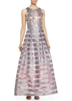 Kay Unger New York Sleeveless Sequined Bodice Striped Gown