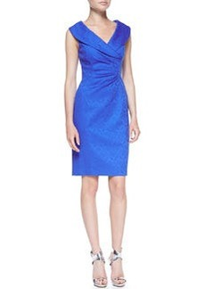 Kay Unger New York Sleeveless Shawl Collar Printed Dress