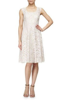 Kay Unger New York Sleeveless Swing Dress with Lace Overlay