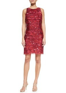 Kay Unger New York Sleeveless Tiered Floral Cocktail Dress