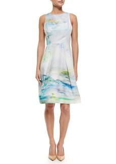 Kay Unger New York Sleeveless Watercolor-Print Cocktail Dress