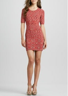 Kay Unger New York Space-Dye Knit Half-Sleeve Dress