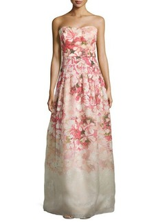 Kay Unger New York Strapless Floral-Print Ball Gown