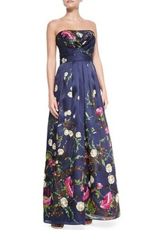 Kay Unger New York Strapless Floral-Print Gown