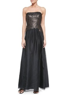 Kay Unger New York Strapless Gown W/ Floral Lace Bodice