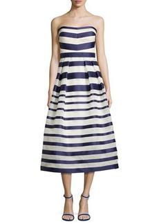Kay Unger New York Strapless Tea-Length Cocktail Dress