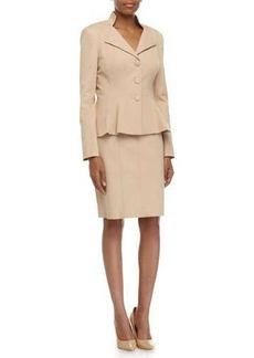 Kay Unger New York Stretch-Knit Jacket & Pencil Skirt Suit, Khaki