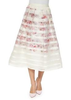 Kay Unger New York Striped & Floral Tea-Length Ball Skirt