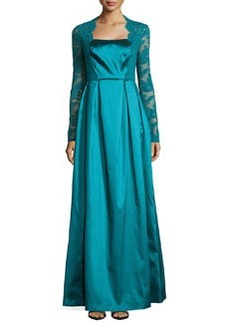 Kay Unger New York Taffeta & Lace Long-Sleeve Gown, Teal