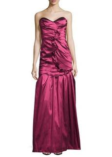 Kay Unger New York Taffeta Strapless Ruffle Gown