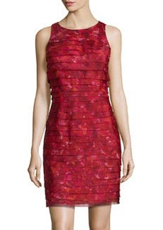 Kay Unger New York Tiered Floral-Print Sleeveless Dress, Red/Multi