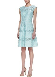 Kay Unger New York Tiered-Lace Cap-Sleeve Cocktail Dress, Mint
