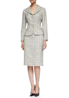 Kay Unger New York Tweed Jacket & Pencil Skirt Suit, Beige