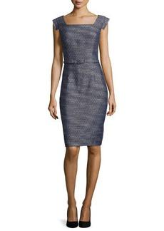 Kay Unger New York Tweed Sheath Dress, Navy