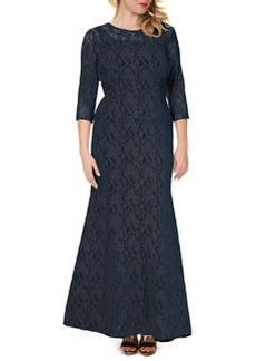 Kay Unger New York Women's 3/4-Sleeve Lace Mermaid Gown, Women's