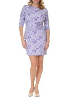 Kay Unger New York Women's 3/4-Sleeve Lace-Print Dress, Women's