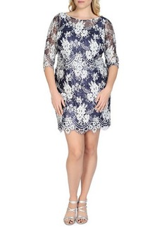 Kay Unger New York Women's 3/4-Sleeve Sequined Lace Cocktail Dress