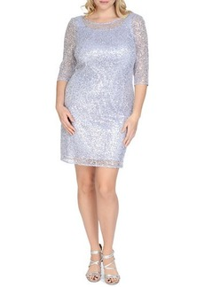 Kay Unger New York Women's 3/4-Sleeve Sequined Sheath Cocktail Dress