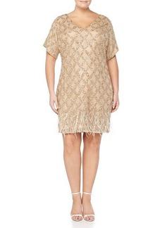 Kay Unger New York Women's Beaded-Pattern Cocktail Dress W/ Feather Hem, Women's