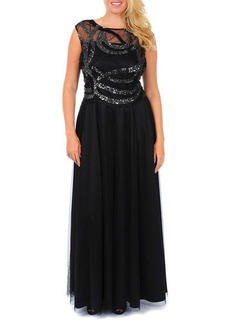 Kay Unger New York Women's Cap-Sleeve Beaded Swirled Gown, Women's