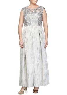 Kay Unger New York Women's Cap-Sleeve Lace-Bodice Gown, Silver, Women's