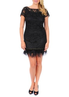Kay Unger New York Women's Lace Sheath Dress with Feathered Hem, Women's