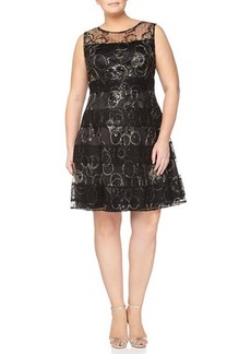 Kay Unger New York Women's Sleeveless Lace Overlay Cocktail Dress