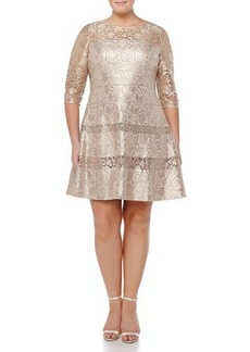 Kay Unger New York Women's Tiered Lace Fit & Flare Cocktail Dress, Gold, Women's