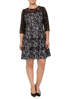 Kay Unger New York Women's Tiered Lace Fit & Flare Cocktail Dress, Navy, Women's