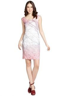 Kay Unger pink tree print sleeveless shift dress