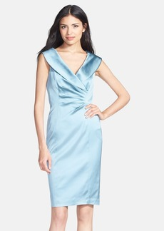 Kay Unger Portrait Collar Stretch Satin Sheath Dress