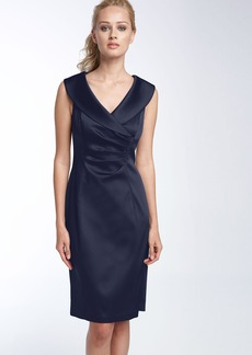 Kay Unger Portrait Collar Stretch Satin Sheath Dress
