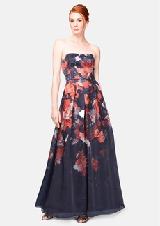Kay Unger Print Silk Ball Gown